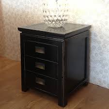 hanoi black lacquer oriental nightstand 3 drawers bedside tables