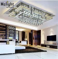 Kitchen Ceiling Lights Flush Mount Modern Led Rectangular Flush Mount Crystal Ceiling Lights Fixture