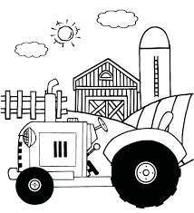 coloring pages of a vintage tractor in front of country farm