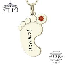 birthstone mothers necklace birthstone necklace baby necklace engraved kids name