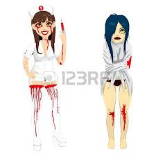 attractive in bloody halloween nurse costume holding a