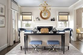 Sofa Table With Stools Blue X Stools With Black Sofa Table Transitional Living Room