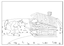 pigs houses coloring pages quality