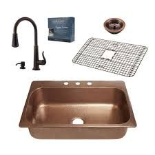 kitchen sink faucets home depot sinkology pfister all in one angelico copper sink 33 in drop in 3
