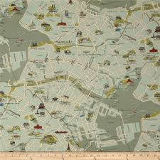 World Map Fabric by Moda Passport Tokyo Map Vintage Discount Designer Fabric