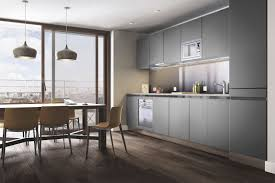 modern grey kitchen cabinets and dining ares and pendants tara