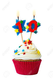 cupcake candles cupcake with number ten candles stock photo picture and royalty