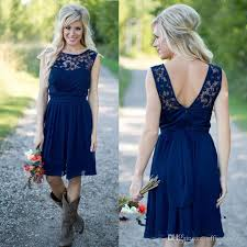 bridesmaid dresses 50 country style 2018 cheap newest navy blue chiffon lace