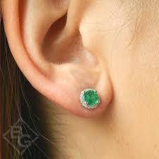 emerald earrings garelick 14k white gold emerald diamond halo earrings