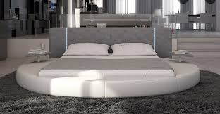 modern eco leather round bed w led lights