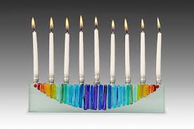 ceramic menorah rainbow moon menorah icicle collection by kelemen glass