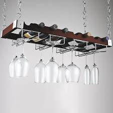 dark brown feat chrome metal hanging wine glass shelving with