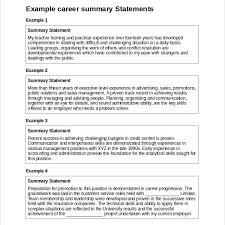 example of resume summary statements resume summary statement
