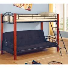 Coaster Haskell Metal And Wood Casual Twin Over Futon Bunk Bed - Wood bunk bed with futon