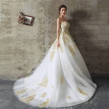aliexpress com buy 2017 white and gold wedding dresses ball gown