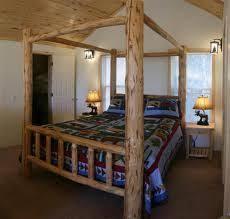 double log canopy bed montana custom log furniture montana
