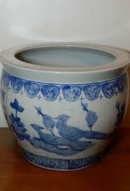 vintage large oriental planter jardiniere blue u0026 white porcelain