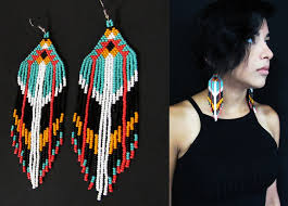 Native American Beaded Earrings Huichol Native American Beaded Earrings Native American Beaded