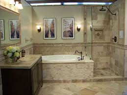 mixture of travertine tiles gives this bathroom an earthy natural