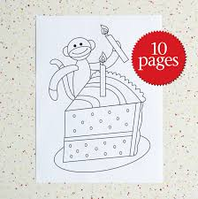 colouring pages birthday sock monkey birthday coloring