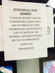target member speech black friday kmart to employee work on thanksgiving day or get fired