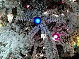7 5 ft slim flocked vail tree with multicolor g40 and