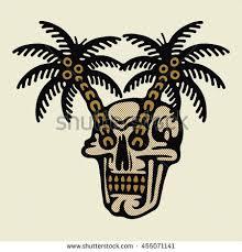 traditional flash skull palms vector stock vector 455071141