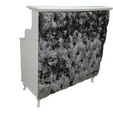 Shabby Chic Salon Furniture by Small Reception Desk With Silver Crushed Velvet Padded Front