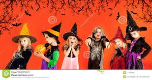 halloween group of children girls costumes royalty free stock