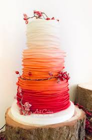 autumn ombre wedding cake with rose hips cake by art bakin