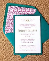 bridesmaids luncheon invitation wording hot pink and peacock bridesmaid s luncheon invite calliespondence
