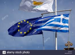 Union Of The Flag The Flags Of The European Union Cyprus And Greece Flying On Poles