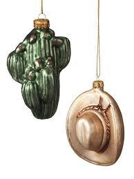 blown glass cactus cowboy hat ornaments 269220