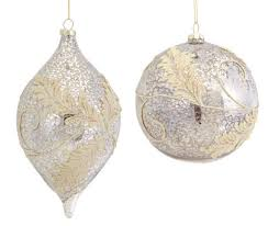 And Gold Glass Ornaments 6 Silver Gold Embellished Glass Shuttle
