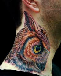 watercolor wolf head back neck tattoo photos pictures and