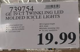 ge led icicle lights costco ge 19 count twinkling led ice crystal icicle lights costco weekender
