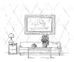 linear sketch of an interior sofa table bedside table lamp flower