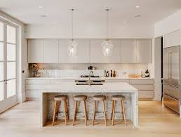 white kitchen ideas modern white kitchen with wood stools and marble countertop on island