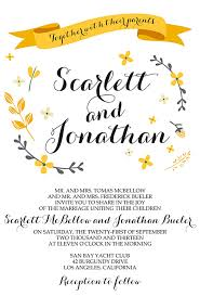 Invations Printable Wedding Invitations Bohemian Yellow And White Printable
