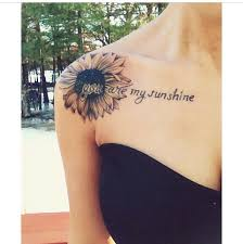 words and sunflower tattoomagz