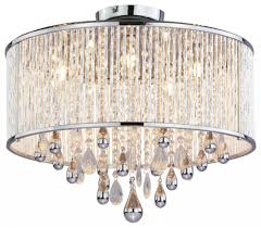 Ceiling Mount Chandelier Light Fixture Five Light Chrome Clear Crystals Glass Drum Shade Semi Flush Mount