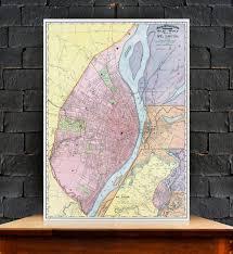 Home Decor St Louis Vintage Colorful Antique Map Of St Louis Print On Canvas Street