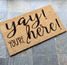 Buy Artsy Doormats Wipe Your Welcome Mat Hand Painted Coir Doormat Yay You U0027re Here Door Mat