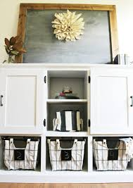 how to make storage cabinets diy storage console with cabinets shelves and cubbies