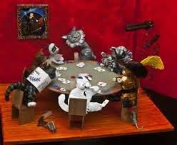 parody image of dogs playing poker that stars a table of cats