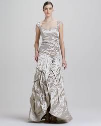 miller dresses miller sweetheart neckline metallic gown in metallic lyst