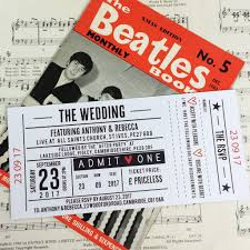 wedding invitations liverpool concert ticket inspired wedding invitations me do designs