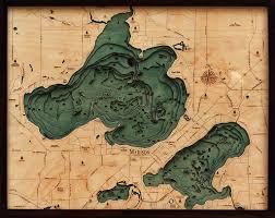 Madison Wisconsin Map by Lake Mendota Monona Madison Wisconsin 3 D Nautical Wood Chart