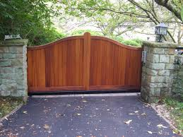 classy double swing neutral polished oak wooden driveway gates