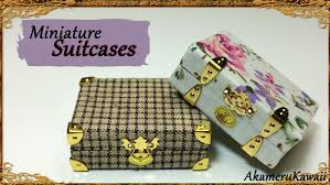 miniature vintage inspired suitcases polymer clay fabric